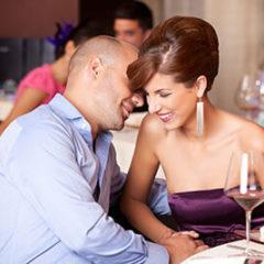 Couple flirting at restaurant